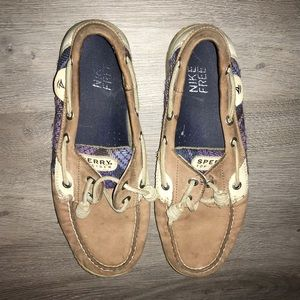 Sperry top sides purple plaid loafer